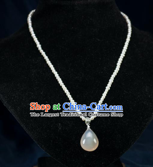 Chinese Traditional Jewelry Accessories Ancient Hanfu Pearls Agate Necklace for Women