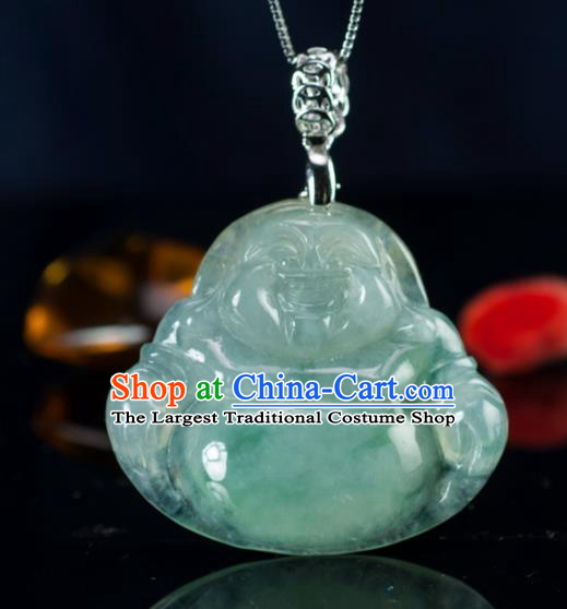 Chinese Traditional Jewelry Accessories Ancient Jade Buddha Jadeite Maitreya Pendant