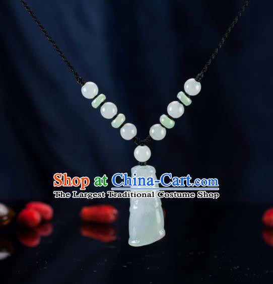 Chinese Traditional Jewelry Accessories Ancient Jade Carving Necklace Jadeite Bamboo Pendant