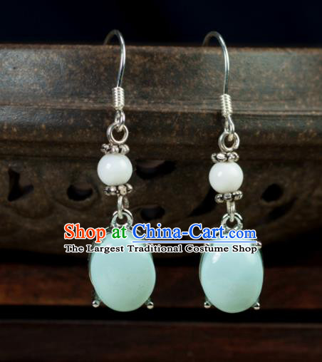 Chinese Traditional Jewelry Accessories Ancient Hanfu Kallaite Earrings for Women
