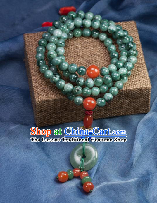 Chinese Traditional Jewelry Accessories Blueing Necklet Ancient Hanfu Jadeite Beads Necklace for Women