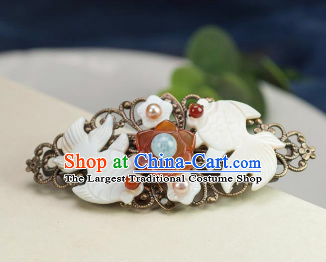 Chinese Traditional Hanfu Hair Accessories Ancient Shell Goldfish Hair Stick Hairpins for Women
