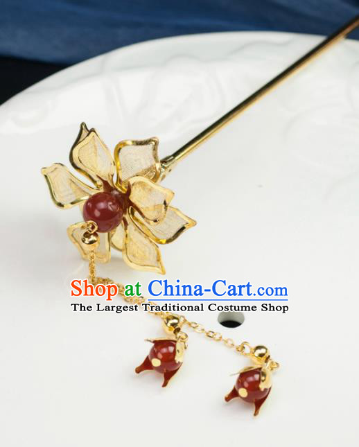 Chinese Traditional Hanfu Hair Accessories Ancient Golden Peony Tassel Hairpins for Women