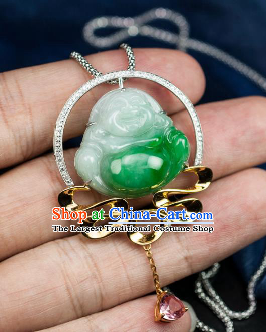 Chinese Traditional Jewelry Accessories Ancient Ice Jade Necklace Jadeite Carving Maitreya Buddha Pendant