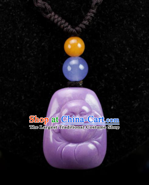 Chinese Traditional Jewelry Accessories Purple Mica Necklet Ancient Hanfu Carving Maitreya Buddha Necklace for Women