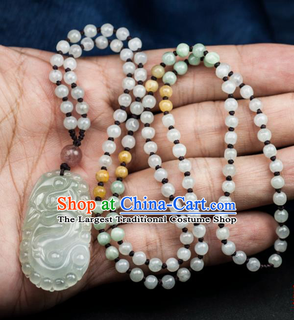 Chinese Traditional Jewelry Accessories Jade Dragon Pendant Ancient Jadeite Necklace