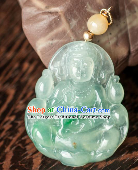 Chinese Traditional Jewelry Accessories Icy Jade Avalokitesvara Pendant Ancient Jadeite Necklace