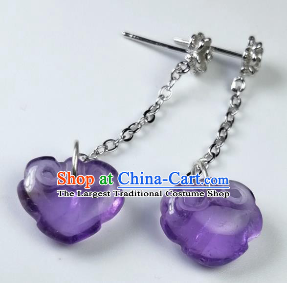 Chinese Traditional Ear Accessories Ancient Handmade Amethyst Earrings for Women