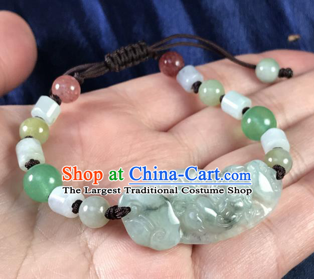 Chinese Traditional Accessories Ancient Handmade Jade Pi Xiu Bracelet for Women