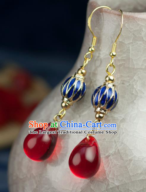 Chinese Traditional Jewelry Accessories Ancient Hanfu Cloisonne Earrings for Women