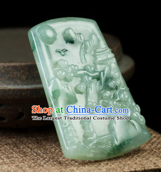 Chinese Traditional Jewelry Accessories Carving Jade Handmade Jadeite Pendant