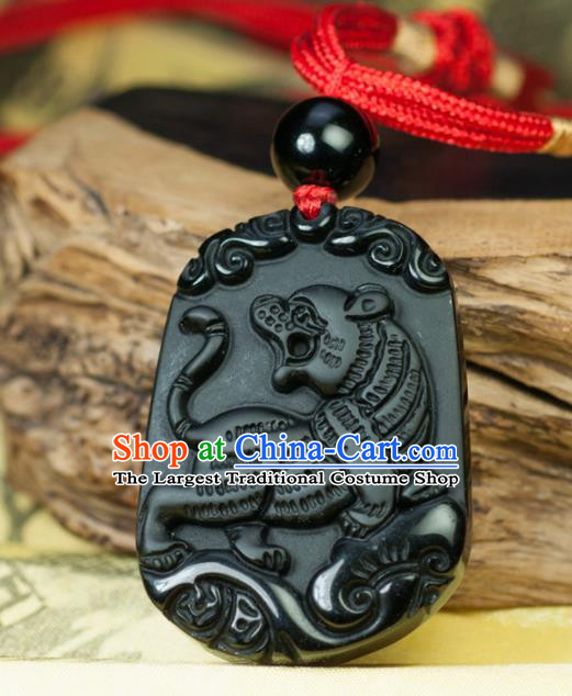 Chinese Traditional Jewelry Accessories Carving Tiger Obsidian Artware Handmade Pendant