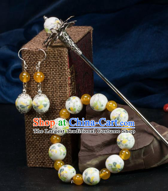 Chinese Traditional Hanfu Hair Accessories Ancient Yellow Beads Ceramics Hairpins and Bracelet Earrings for Women