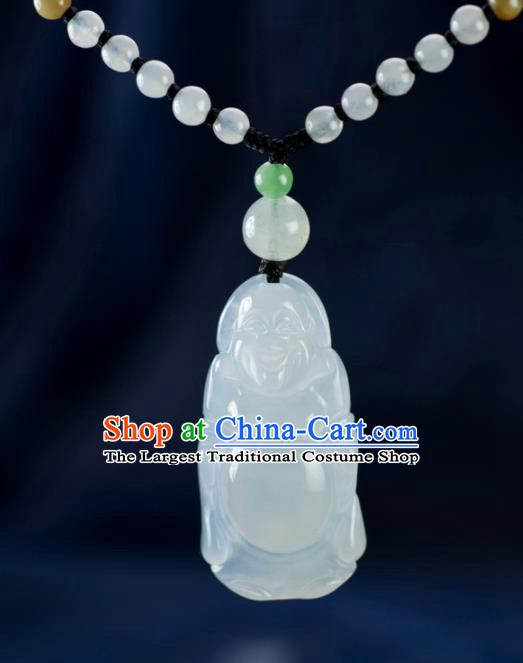 Chinese Traditional Jewelry Accessories Jade Necklace Handmade Carving Maitreya Buddha Emerald Pendant