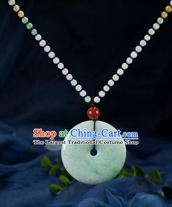 Chinese Traditional Jewelry Accessories Jade Necklace Handmade Emerald Pendant
