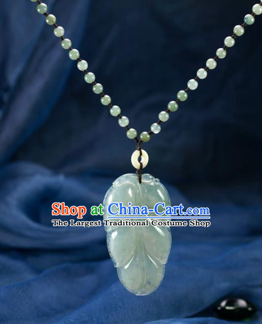 Chinese Traditional Jewelry Accessories Jade Leaf Necklace Handmade Emerald Pendant