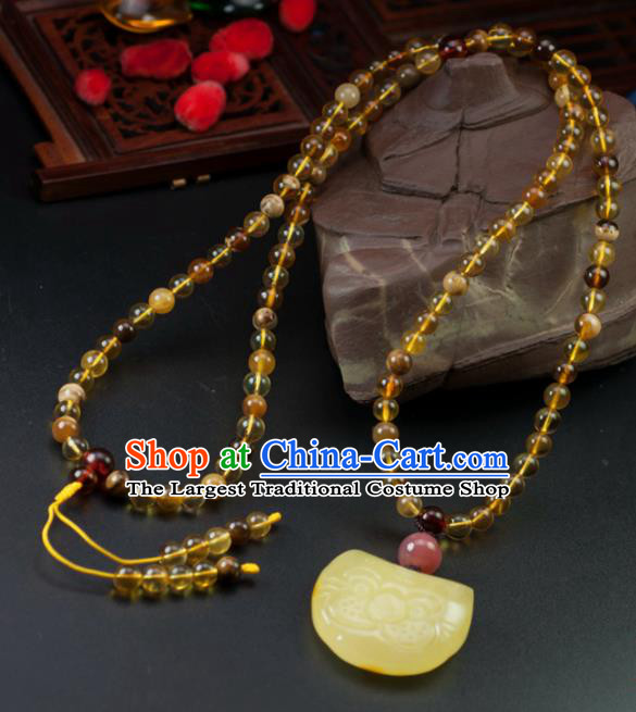 Chinese Traditional Jewelry Accessories Beeswax Necklace Handmade Pendant