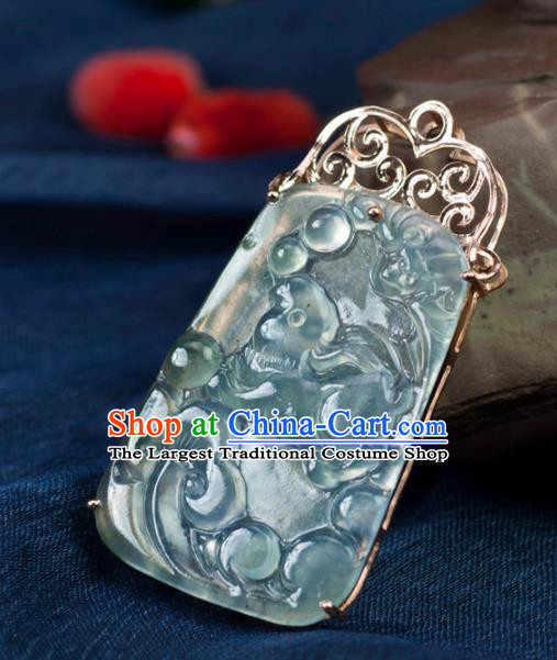 Chinese Traditional Jewelry Accessories Carving Jade Necklace Handmade Jadeite Pendant
