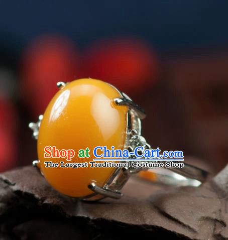 Chinese Traditional Jewelry Accessories Ancient Hanfu Huanglong Jade Ring for Women
