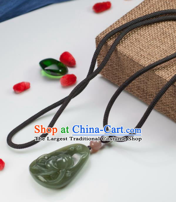 Chinese Traditional Jewelry Accessories Carving Lotus Jade Necklace Handmade Jadeite Pendant