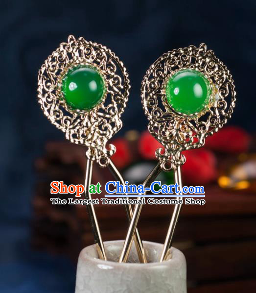 Chinese Traditional Hanfu Hair Accessories Ancient Classical Green Hairpins for Women