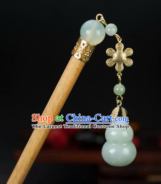 Chinese Traditional Hanfu Hair Clip Hair Accessories Ancient Classical Jade Calabash Hairpins for Women