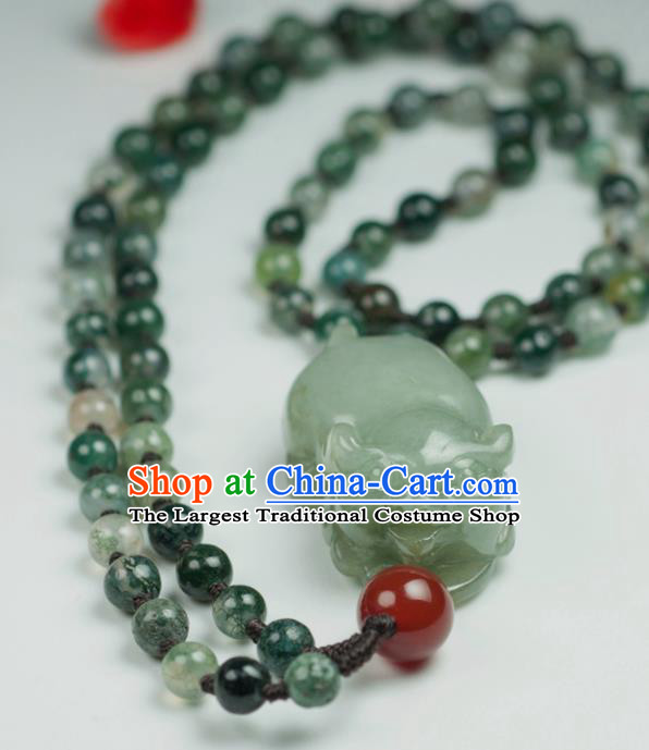 Chinese Traditional Jewelry Accessories Jade Pig Necklace Handmade Jadeite Pendant