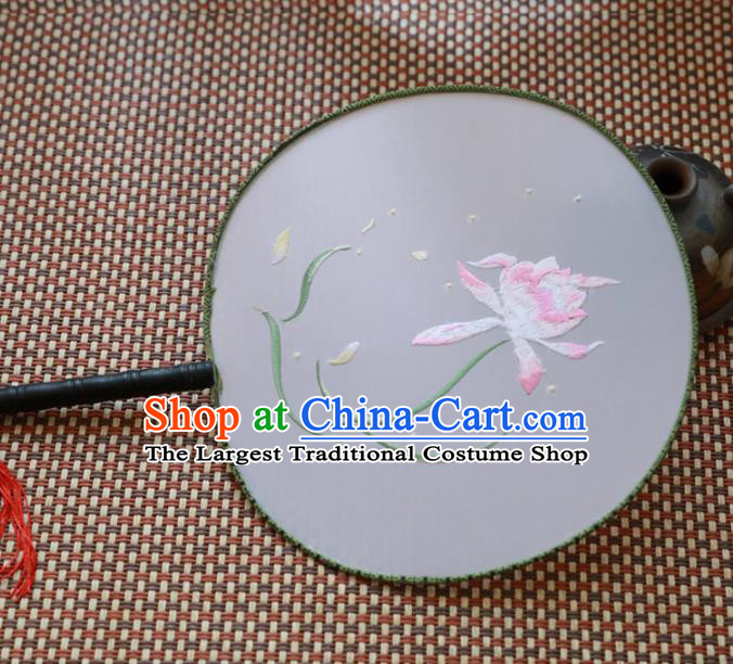 Chinese Traditional Hanfu Palace Fans Ancient Handmade Embroidered Lotus Round Fans for Women