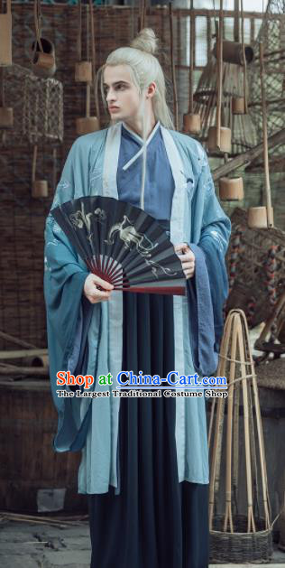Chinese Ancient Ming Dynasty Nobility Childe Clothing Traditional Swordsman Embroidered Costumes for Men