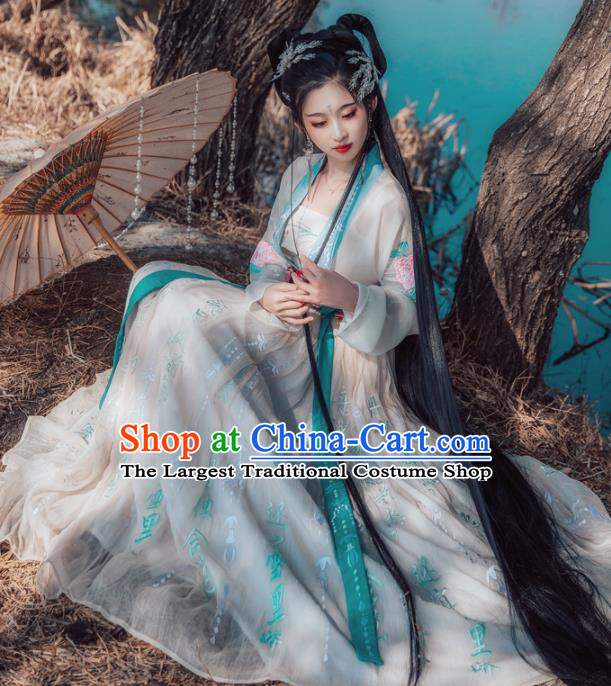 Chinese Ancient Peri Princess Hanfu Dress Traditional Palace Lady Embroidered Costumes for Women