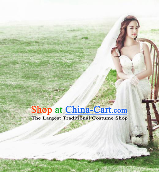 Top Performance Catwalks Costumes Wedding Dress White Full Dress for Women