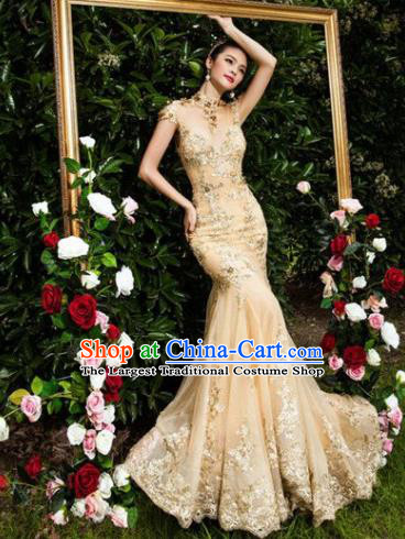 Top Performance Catwalks Costumes Wedding Dress Princess Golden Full Dress for Women
