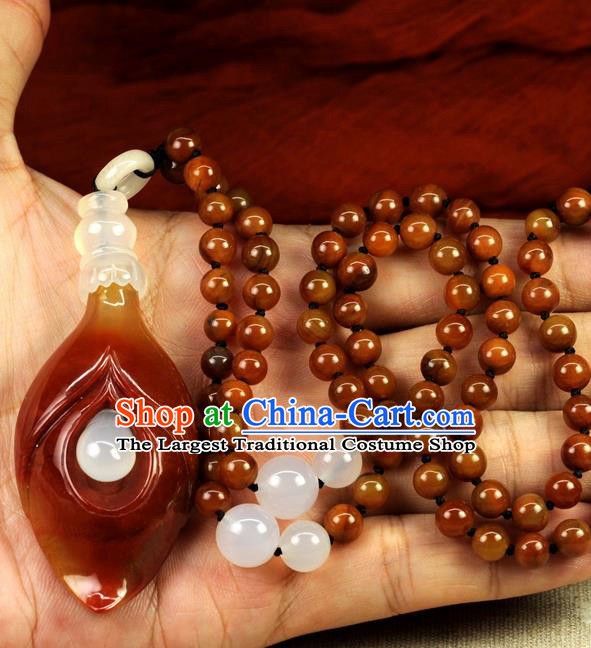 Chinese Traditional Jewelry Accessories Ancient Hanfu Huanglong Jade Magnolia Necklace for Women