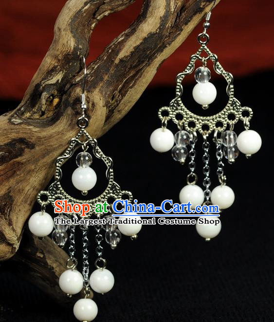 Chinese Traditional Jewelry Accessories Ancient Hanfu White Beads Earrings for Women