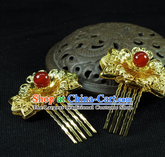 Chinese Traditional Hanfu Golden Hair Comb Hair Accessories Ancient Classical Hairpins for Women