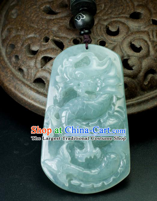 Chinese Traditional Jewelry Accessories Carving Dragon Jade Craft Handmade Jadeite Pendant
