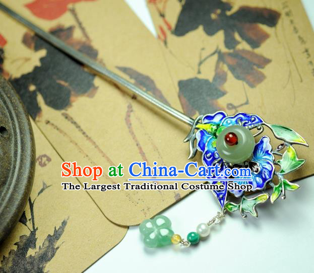 Chinese Traditional Hanfu Blueing Butterfly Hair Clip Hair Accessories Ancient Classical Hairpins for Women
