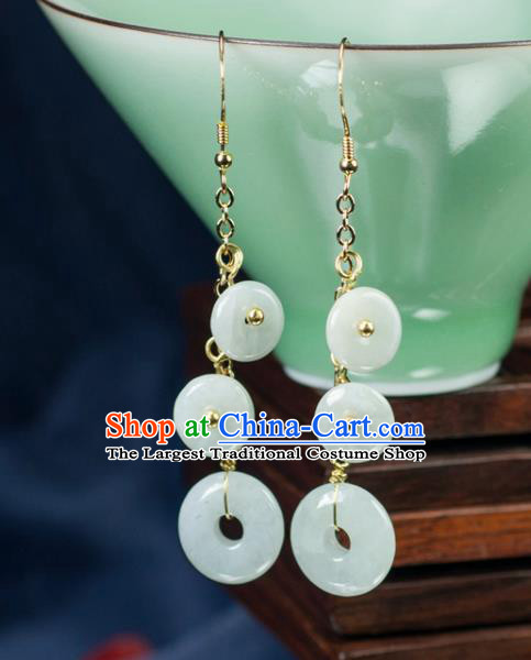 Chinese Traditional Jewelry Accessories Ancient Hanfu Jade Earrings for Women
