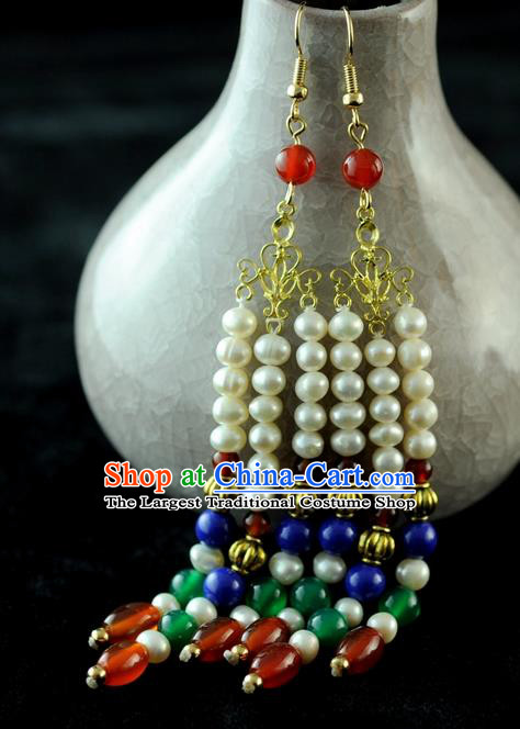 Chinese Traditional Jewelry Accessories Ancient Hanfu Pearls Tassel Earrings for Women