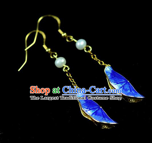 Chinese Traditional Jewelry Accessories Ancient Hanfu Blueing Lotus Leaf Earrings for Women