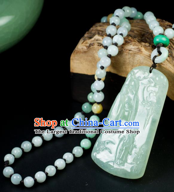 Chinese Traditional Jewelry Accessories Carving Jade Craft Handmade Jadeite Pendant