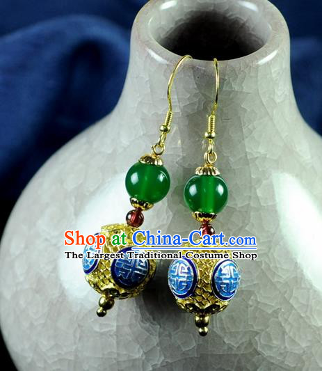 Chinese Traditional Jewelry Accessories Ancient Hanfu Blueing Earrings for Women