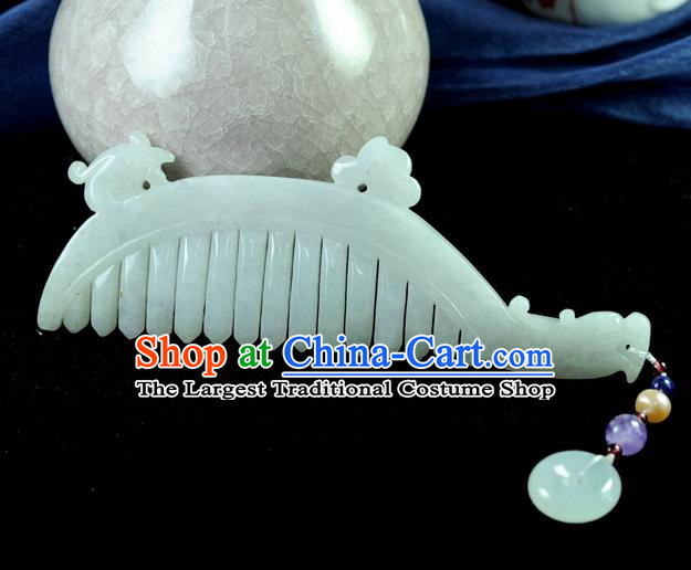 Chinese Traditional Jewelry Accessories Jade Sculpture Craft Hair Comb Handmade Jadeite Pendant