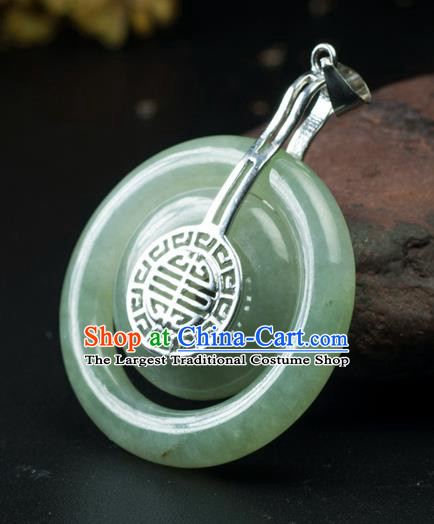 Chinese Traditional Jewelry Accessories Jade Carving Craft Handmade Jadeite Peace Buckle Pendant