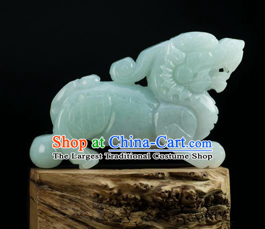Chinese Traditional Jewelry Accessories Jade Carving Craft Handmade Jadeite Kylin Pendant