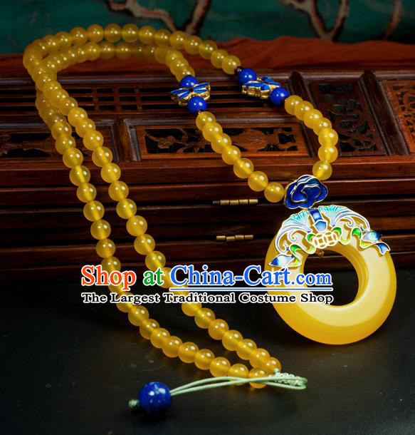 Chinese Traditional Jewelry Accessories Ancient Hanfu Canary Stone Necklace for Women