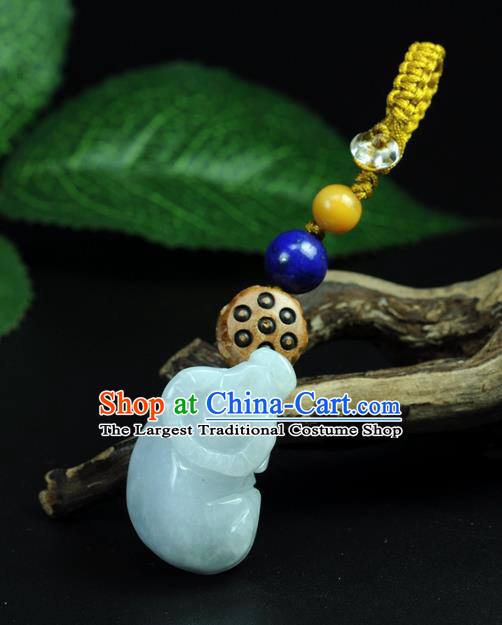 Chinese Traditional Jewelry Accessories Jade Sculpture Ox Craft Handmade Jadeite Pendant