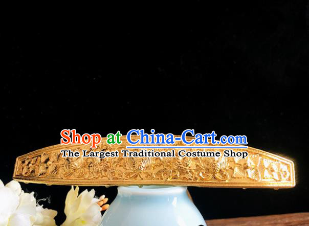 Chinese Classical Hair Accessories Traditional Ancient Hanfu Carving Golden Hairpins for Women