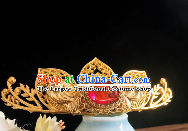Chinese Classical Hair Accessories Traditional Ancient Hanfu Carving Lotus Golden Hairpins for Women