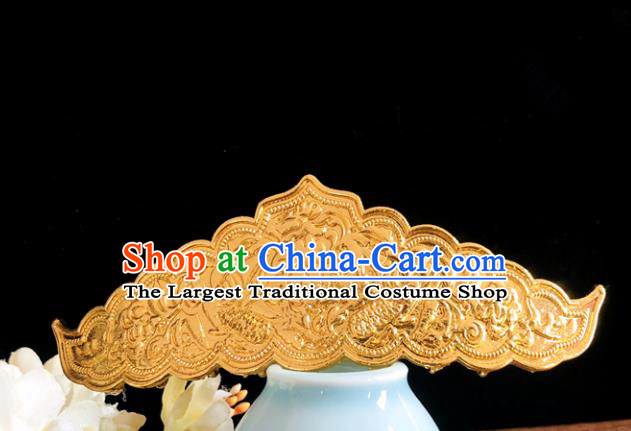 Chinese Classical Hair Accessories Traditional Ancient Hanfu Carving Hair Comb Golden Hairpins for Women